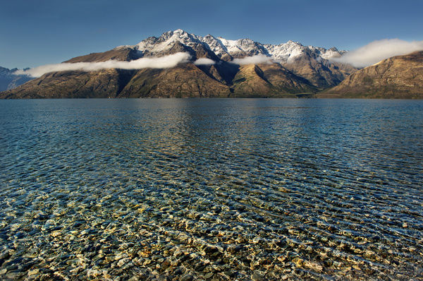 Pristine water. Crystal clear water sets of the Remarkables mountain range