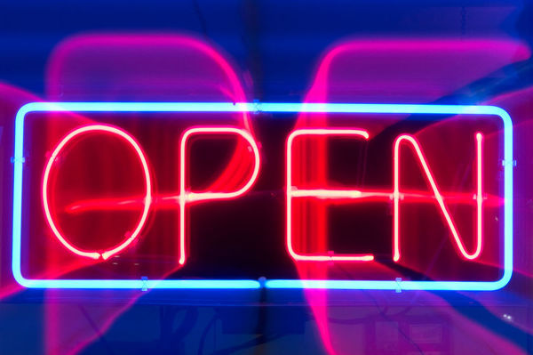 Red And Purple Neon Open Sign #10164812 Framed Photos, Wall Art