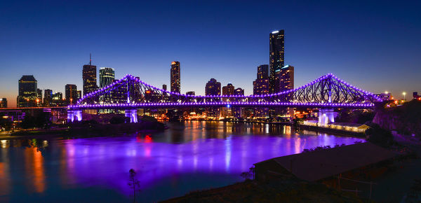 Sunset At Brisbane City View And Story Bridge Queensland Australia 14574153