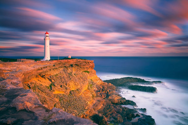 Cape Nelson lighthouse at sunset, Portland, Victoria, Australia