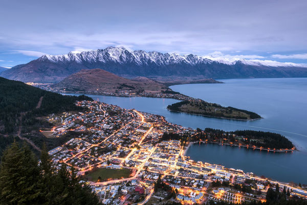 View of Queenstown. View from the Skyline Gondola just after sunset