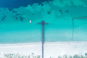 photographers/neal pritchard photography/aerial view boat jetty coastline