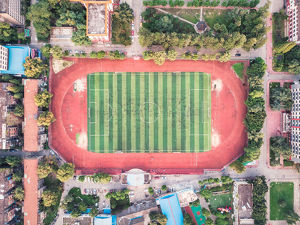 travel/shihan shan/aerial view football playground sichuan university