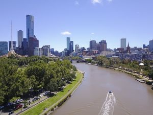 aerials/drone aerial views/aerial view melbourne skyline yarra river blue day