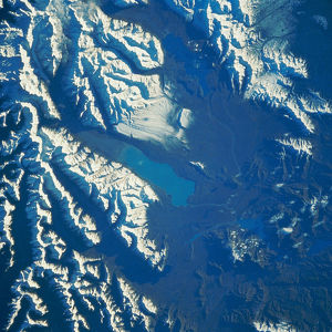 aerial views/satellite view lake pukaki new zealand